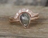 SET - Pear Rose Cut Gray Diamond Bezel Ring in 14K Rose Gold