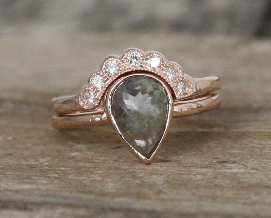 Set Pear Rose Cut Gray Diamond Bezel Ring In 14k Rose Gold