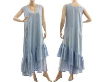 Blue linen boho maxi dress, linen summer dress light blue, blue linen maxi dress with large flounce / lagenlook plus size M, US size 10-12