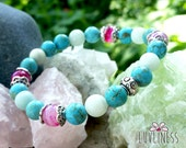 Express your Truth, Amazonite, Turquoise & Pink Banded Agate Gemstone Mala Bracelet, Yoga Jewelry, Healing Reiki