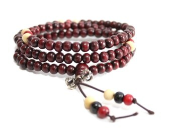 Buddhist mala, Meditation Beads, 108 bead mala, Protective, Sandalwood, Wood Red Bracelet Necklace, 6mm 108 Bead Mala Chakra Tassel Necklace