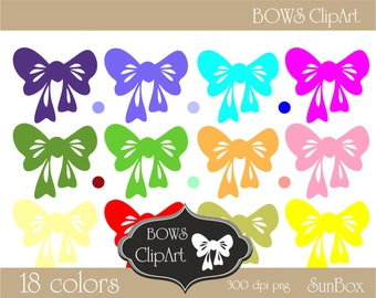 Bows Clipart Pink Red Green Blue Purple White Bow 18 ClipArt Images for cards, scrapbooking  - instant download - CU OK