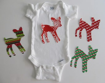 Christmas Deer Iron on Applique for Christmas Kids Outfit, Christmas Quilt, Pillow, etc.