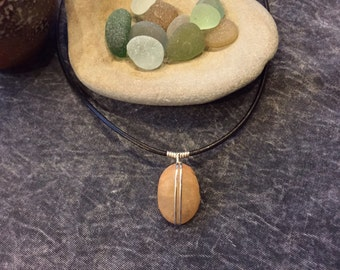"""Cape Cod beach stone and sterling silver on 18""""- """"20"""" black leather cord."""