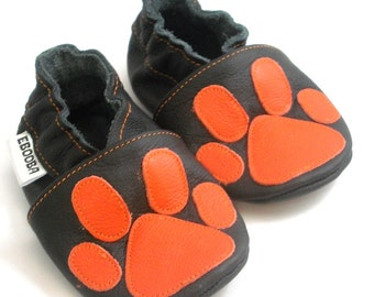 soft sole baby shoes leather infant kids children girl boy gift new paw print orange on black 18-24 m ebooba 98-4