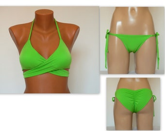 PADDED Lime green wrap around bikini top and tie side scrunch butt bottoms-Swimsuit-Bathing suit-Swimwear-Choose your color-XS-S-M-L-XL