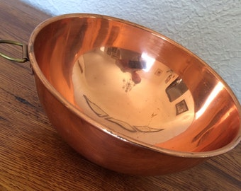"Vintage Hanging Copper Mixing Bowl 8 1/4"" Daewoo Korea"