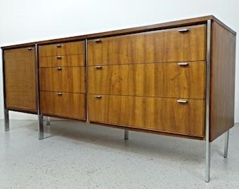 mid century modern Knoll Founders style walnut chrome leg credenza sideboard dresser