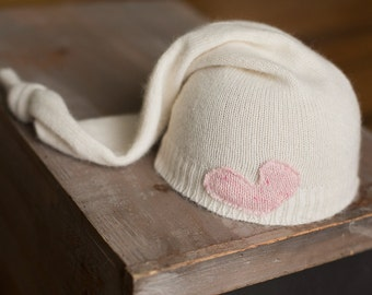 Cream Upcycled Newborn Hat with Pink Heart READY TO SHIP newborn photography prop baby girl hats knit sleepy time hat girls