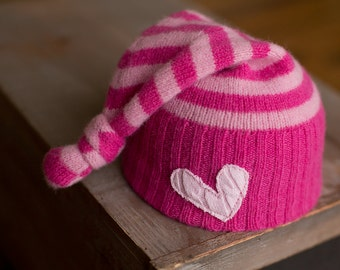 READY TO SHIP Newborn Hat Pink Striped Upcycled Hat with Heart, Newborn Photo Prop, Newborn Girl Hat, Pink Hat, Upcycled Hat, Girl Props