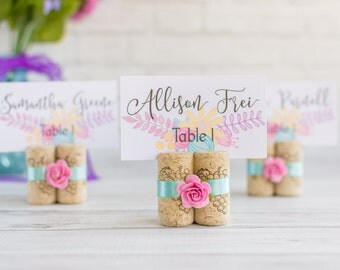 Bright Pink Rose Place Card Holder - Spring Wedding Cork Escort Card Holder - Pick your Wedding Colors!