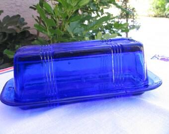 Vtg Hazel Atlas Criss Cross 1/4 lb. Cobalt Blue/Ritz Blue Butter Dish - Circa 1930s