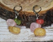 Nickel and lead free green, pink, yellow and red crackled quartz lever back earrings