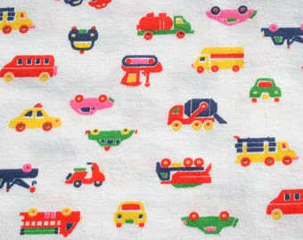 Vintage Kids Tshirt Fabric, Car Bus Fire Engine  Knit Jersey Fabric, Primary Colors on White T-Shirt, Stretchy Material Fabric 1 yard