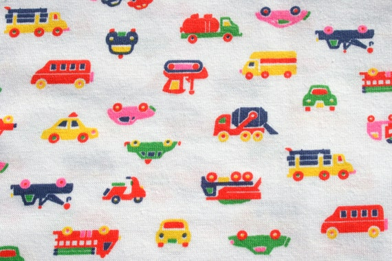 Vintage kids tshirt fabric car bus fire engine knit jersey for Children s jersey fabric uk