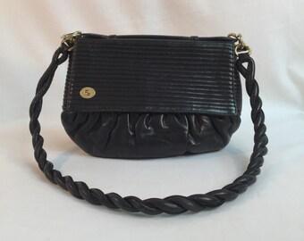 Fendi black leather evening bag / black leather Fendi purse / Fendi shoulder bag