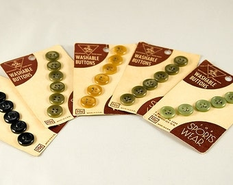 Vintage Collection of Five Green and Neutral Button Cards