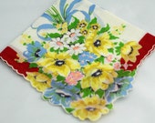 Vintage Hankie, Beautiful Floral With Floral Bouquet Extending Outside the Edges in One Corner U11