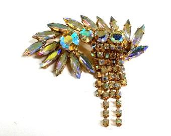 Vintage Large Aurora Borealis Crystal Pin / Brooch Wedding
