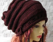 Large Baggy Hand Knitted , Huge Boho Hat, Women/Teen Extra Large Slouchy Hat, Rasta Cap in Burgundy - SOLD - taking orders