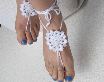 Ladies  Barefoot Sandals - Crochet barefoot sandals Bridal Foot jewelry - Beach wedding barefoot sandals-Lace shoes-Beach wedding sandals