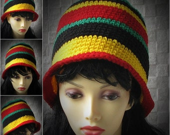 Striped bucket hat crocheted african hats rasta colors beanie  Trendy Hat Women Crochet Hat