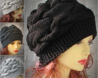 Parisian style, Winter Hat Kniited Beanie Hat, Knit Hat for Women Knit Hats Women,  CHOOSE COLOUR