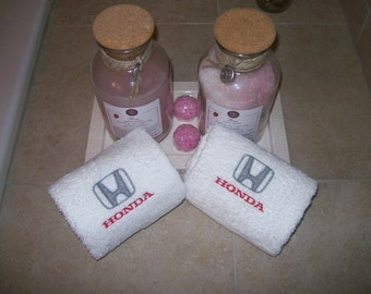 Embroidered  Bath or Gym White Hand Towels car logo Honda -Set of 2 - Fathers day gift