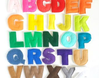 Magnetic/Plush SOLID RAINBOW Gradient Plush Alphabet Letters Toy - Made-To-Order