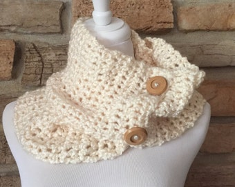 Cream winter white womens scarf crochet circle scarf with 2 button detail