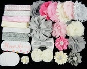 Ivory/Pink/Gray/Silver - DIY Flower Headband Kit -  Flower Headband Kit- Baby Shower/Holidays/Birthday/Pary Favor/Craft Supplies Kit
