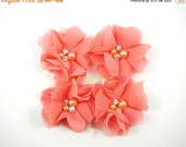 "ON SALE 5% OFF 1.75"" Petitie Chiffon Beads Flowers - Coral Color - Coral Chiffon Flowers - Orange Coral Chiffon Bead Flower - Hair Accessori"