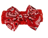 Baby Bandana Hair Bow, Red Bandana Headband, Baby Head Band, Baby Hair Bow, Cowgirl Hair Bow
