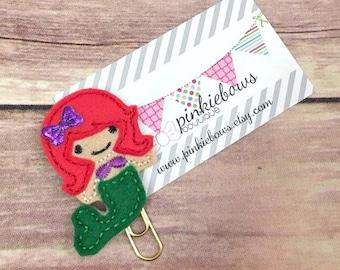 Red/Green/Mermaid/Felt Applique Paper Clip/Planner Clip/Journal Marker/Bookmark