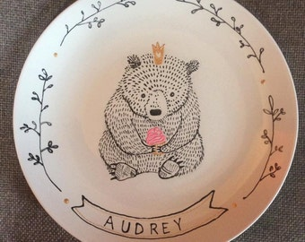 Custom Birthday Bear Plate