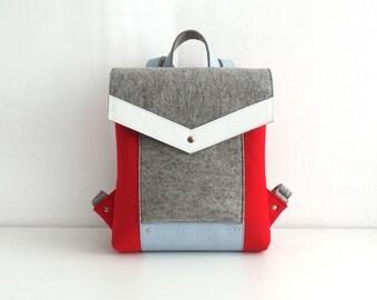 Felt Genuine Leather Backpack Red Gray White Blue