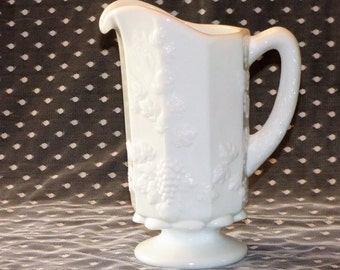 Vintage White Milk Glass Pitcher/Westmoreland Milk Glass Pitcher/  Paneled Grape Pattern