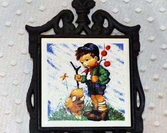 Seven Star Hummel boy and Lamb Trivet/ Wall Decor