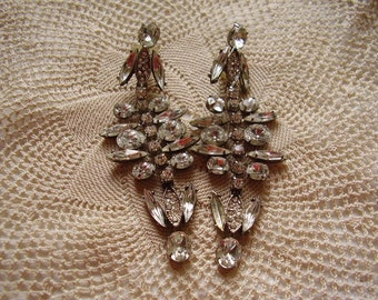 Vintage Rhinestone Pierced Dangle Earrings