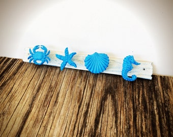 BOLD ocean blue and White nautical towel rack // coat towel wall hooks // crab seahorse seashells // rustic beach house storage // cast iron