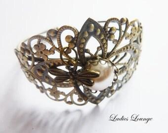 filigree art Noveau Bracelet Dragonfly Bracelet, nostalgia jewelry, goth, Steampunk Jewelry
