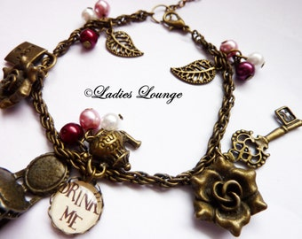 Alice in Wonderland Charm Bracelet Alice in Wonderland Fairytale Key Jewelry