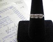 STRONGITE & 14K WHITE GOLD Vintage Three Stone Ring with Strongite Co Advertising Collectible Ephemera