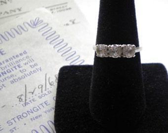 14K White GOLD Vintage Three Stone Ring with STRONGITE Co Advertising Collectible Ephemera