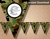 Brown Green Camo Camouflage Bunting Pennant Banner, Camo Camouflage Party Decorations, Printable Party Decorations, Instant Download