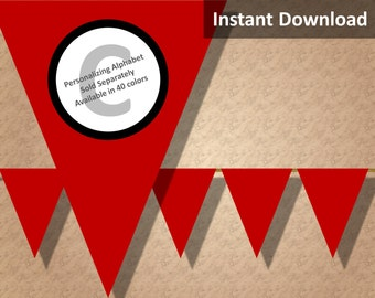 Crimson Red Solid Birthday Party Bunting Pennant Banner Instant Download, Party Decorations
