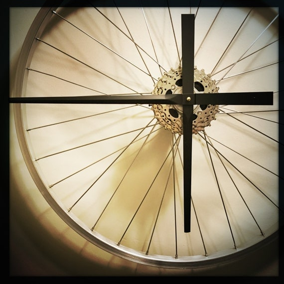 Bike Design Wall Clock : Bike wheel clock large wall bicycle by dreamgreatdreams