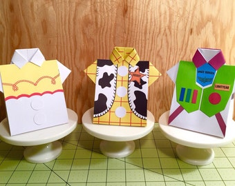 PDF Tutorial for Toy Story Shirt Favor Box with Printable Woody, Jessie and Buzz (front patterns)  INSTANT DOWNLOAD