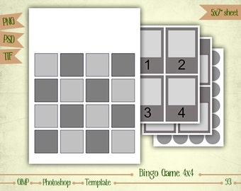 Bingo Game 4x4 - Digital Collage Sheet Layered Template - (T093)
