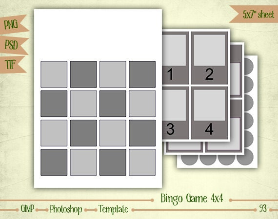 Bingo game 4x4 digital collage sheet layered template for 4x4 bingo template